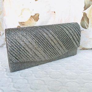 Metallic Silver Clutch With Detachable Chain Strap